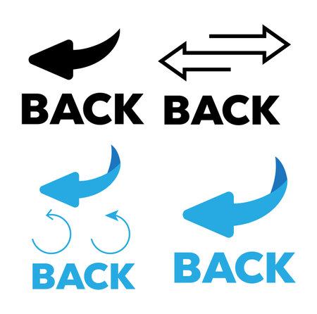 Flip over or turn. Back Arrow icon flat