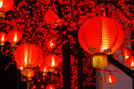 lit lamp: Chinese lanterns