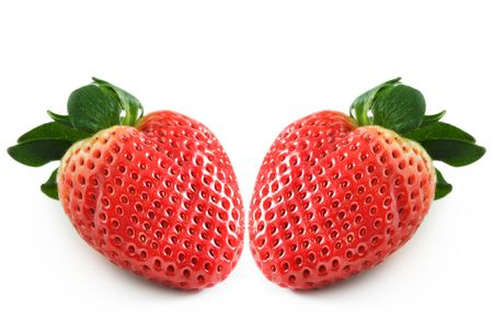two strawberry isolated on a white background Imagens