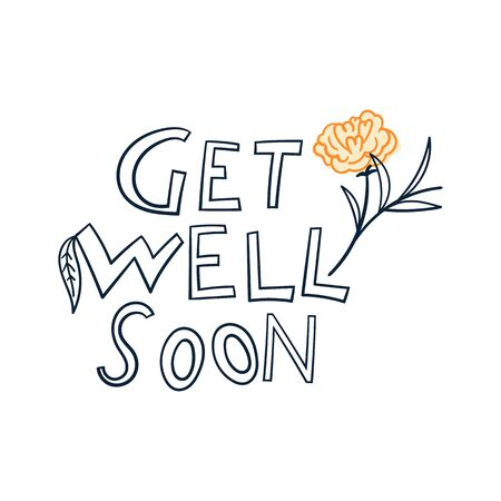 hand drawn camellia flowers with text-get well soon vector illustration. creative floral designs for fabric, wrapping, wallpaper, textile, apparel, card.