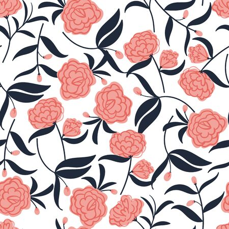 seamless floral pattern with hand drawn camellia flowers. creative floral designs for fabric, wrapping, wallpaper, textile, apparel. vector illustration