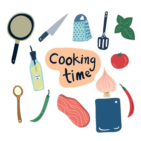 hand drawn save the cooking tools and vegetables illustration. creative designs for fabric, wrapping, wallpaper, textile, apparel.