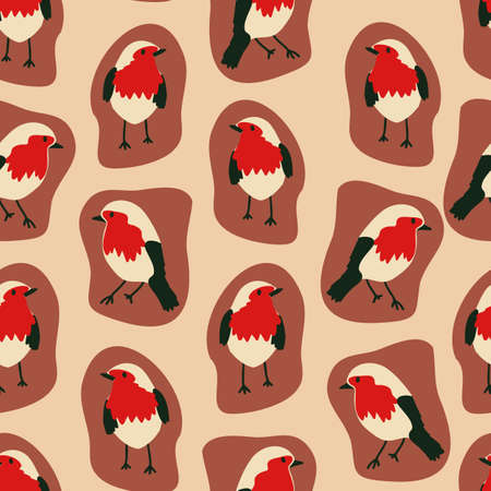 seamless pattern with hand drawn robin bird. creative animal designs for fabric, wrapping, wallpaper, textile, apparel. vector illustration