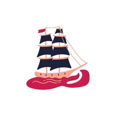 hand drawn pink sailboat vector illustration. creative nautical designs for fabric, wrapping, wallpaper, textile, apparel.