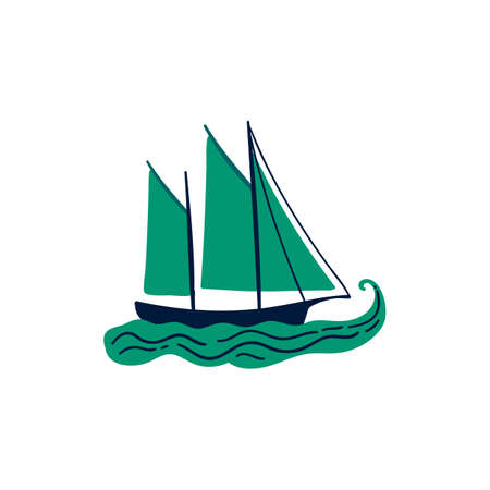 hand drawn green sailboat vector illustration. creative nautical designs for fabric, wrapping, wallpaper, textile, apparel.