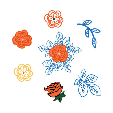 hand drawn rose flowers vector illustration. creative floral designs for fabric, wrapping, wallpaper, textile, apparel. Illustration