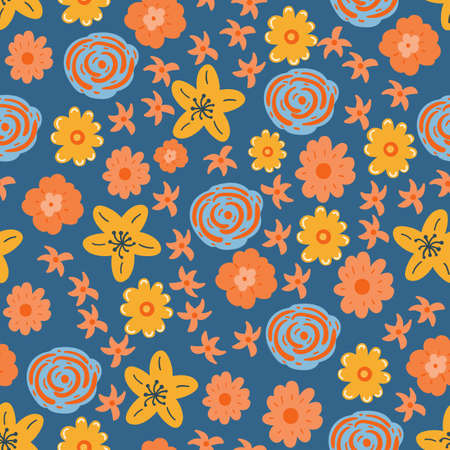 seamless floral pattern with hand drawn wildflowers. creative floral designs for fabric, wrapping, wallpaper, textile, apparel. vector illustration Illustration