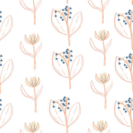 seamless floral pattern with hand drawn doodle flower and lil of the valley. creative floral designs for fabric, wrapping, wallpaper, textile, apparel.  vector illustration