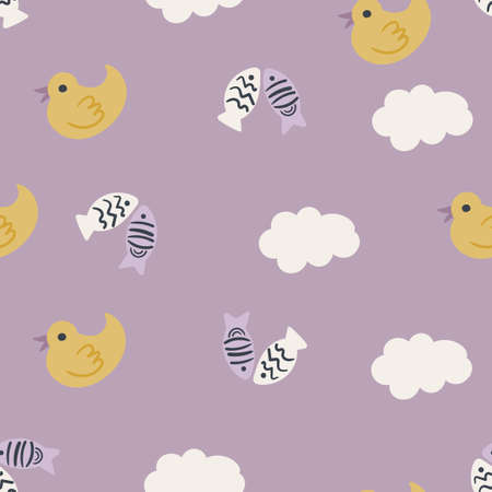 Childish Seamless pattern hand drawn ducks and fish. Creative animal design for apparel, fabric, textile, stationary, wrapping, wallpaper. vector illustration.