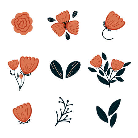 hand drawn doodle flowers vector floral element. Perfect for apparel,fabric, textile, nursery decoration,wrapping paper, stationary, postcard. Vector set collection.