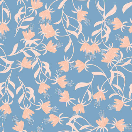 seamless floral pattern with hand drawn doodle fuchsia  flowers. Perfect for apparel,fabric, textile, nursery decoration,wrapping paper. Vector background Illustration.