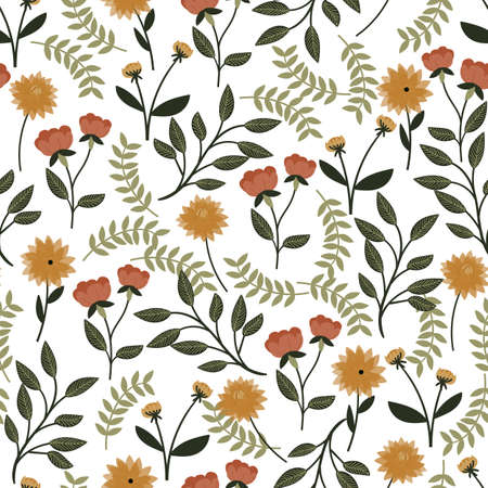 seamless floral pattern with hand drawn pretty flowers. Perfect for apparel,fabric, textile, decoration,wrapping paper. Vector illustration. 向量圖像