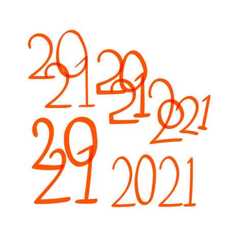 hand-drawn doodle 2021 year text vector illustration. Illusztráció