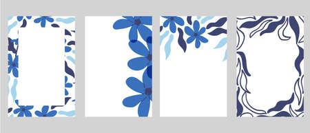 Hand-drawn blue flowers frame design template vector illustration. Good for social media posts, mobile apps, cards, invitations, banners design and web/internet ads. Ilustración de vector
