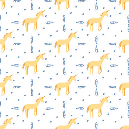 Seamless childish pattern with hand-drawn unicorn vector illustration. Good for kids theme, fabric, textile, stationary, card, wallpaper.