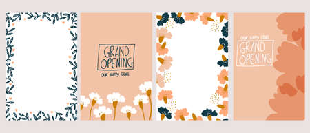 set of hand-drawn floral design template vector illustration. carnation flowers. Suitable for social media posts, mobile apps, cards, invitations, banners design and ads. 矢量图像