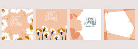 set of hand-drawn floral design square template vector illustration. carnation flowers. Suitable for social media posts, mobile apps, cards, invitations, banners design and ads.