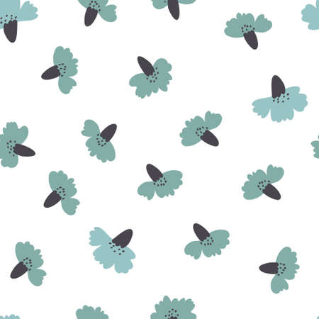 Seamless floral pattern with hand-drawn carnation flowers vector illustration. Good for textile, fabric, stationary, cover, wallpaper, wrapping wrap, card, greeting card.