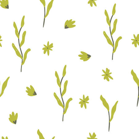 seamless floral pattern with mini green flowers vector illustration. Good for, fabric, card, stationary, wallpaper, wrapping paper, textile.