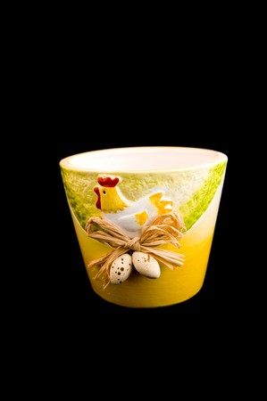 Easter decoration with chicken on
