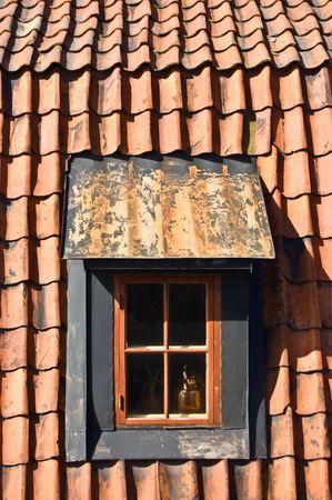 A photo of old window in swedish style in Skansen