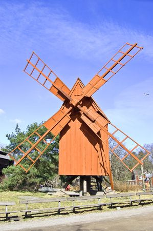 A photo of olddays windmill in skansen