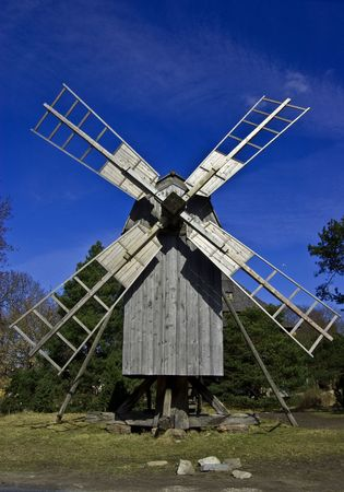A photo of old wooden windmill in Skansen Stock Photo - 4651771
