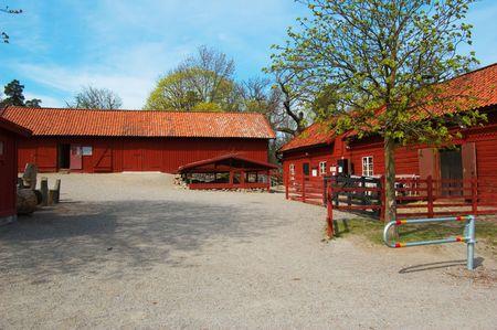 Swedish farm scene Stock Photo
