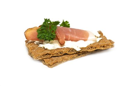 sallad: Crispy sandwich with ham Stock Photo