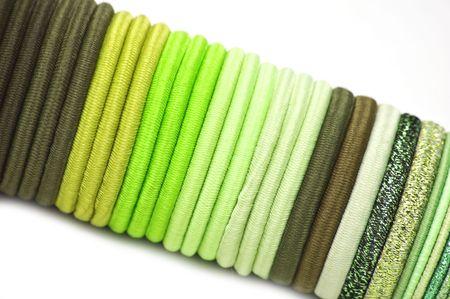 pallette: Bandes �lastiques de pallette vert pour cheveux