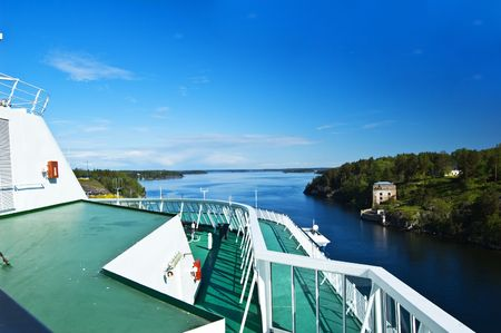 Swedish archipelago with a cruise ship detail