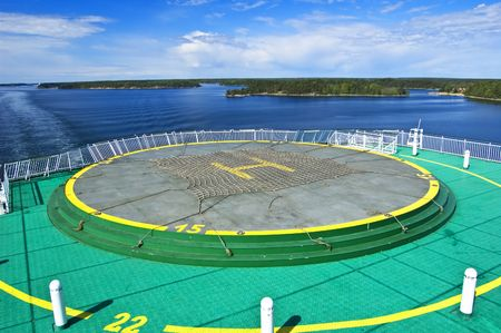 helicopter pad: Helicopter landing pad on the cruise ship