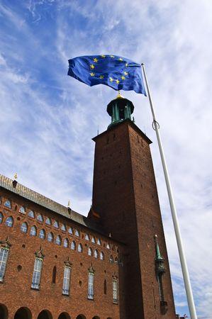 Stockholm City Hall with EU flag