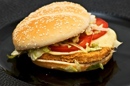 Fresh chicken burger Stock Photo