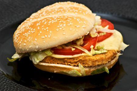 hamburguesa de pollo: Hamburguesa de pollo fresca
