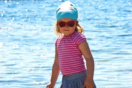 4 years old girl near the sea Stock Photo - 5089402