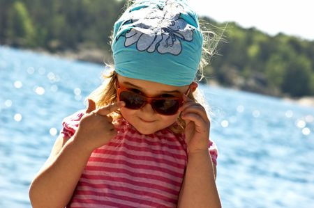 4 years old girl near the sea Stock Photo - 5089403