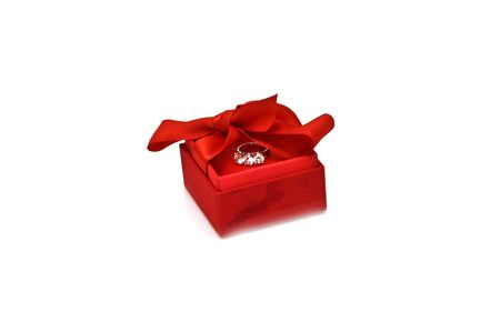 Red gift box with platinum ring