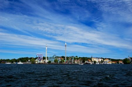 Amusement park in Stockholm on sunny summer day Stock Photo