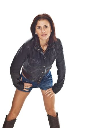 Brunette girl in jeans and jacket
