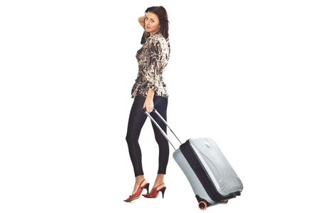 Sexy girl with travel bag Stock Photo