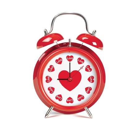 night time: Red retro alarm clock - vector