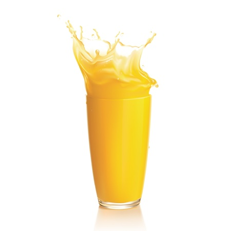 jugos: Splash de jugo de naranja sobre un fondo blanco. Vector. Malla