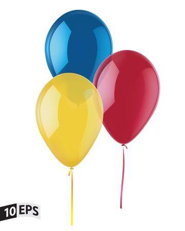 Set of Color Balloons isolated on White Background  Mesh Vector