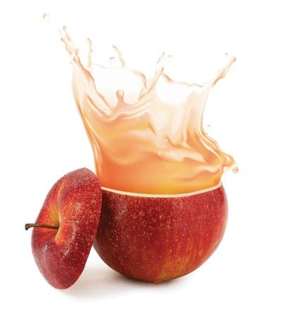 manzana agua: Salpicaduras de Apple jugo aislado en blanco