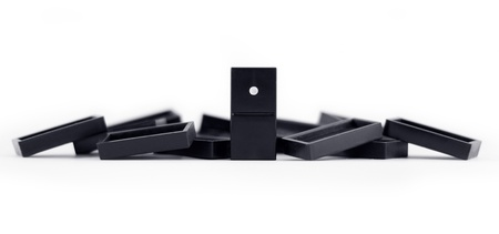 best protection: Domino effect concept with leader