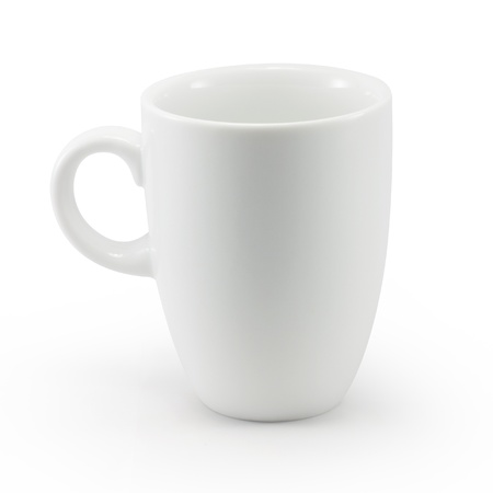 White cup isolated with clipping path Foto de archivo