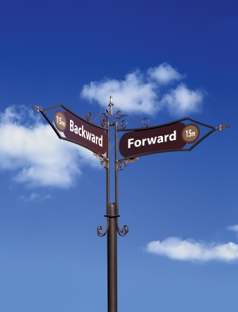Road Signs. Forward and Backward Banque d'images