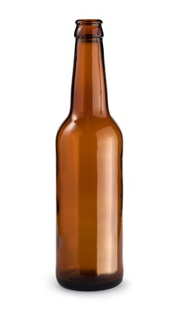 single beer bottle: Empty beer bottle. Isolated with clipping path