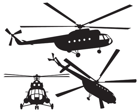 military helicopter: Helicopter silhouette  Mi 8  Vector illustration